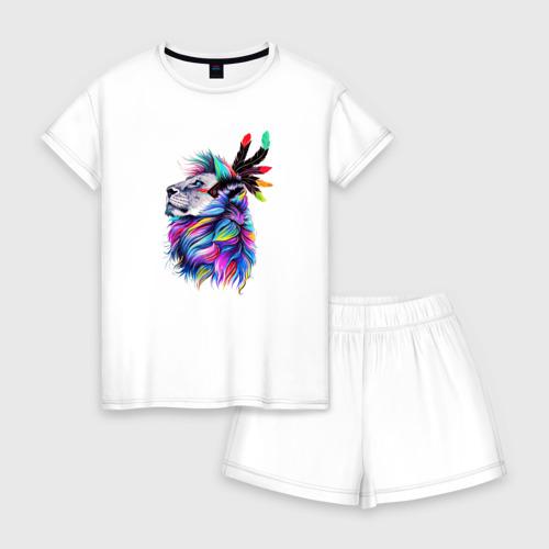 Женская пижама с шортиками хлопок Разноцветный лев Фото 01