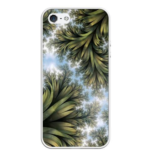 Чехол для iPhone 5/5S матовый Зеленые листья Фото 01