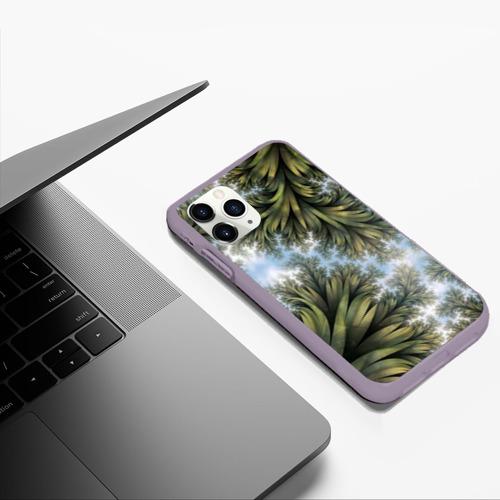 Чехол для iPhone 11 Pro Max матовый Зеленые листья Фото 01
