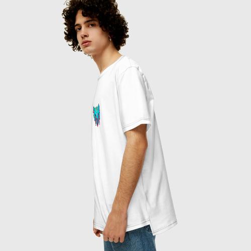 Мужская футболка хлопок Oversize Кислотный Кот Фото 01