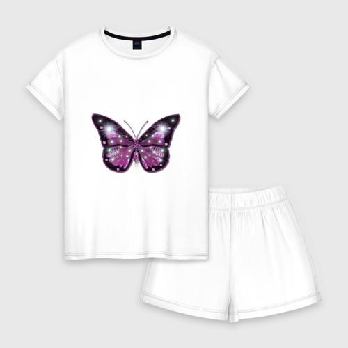 Женская пижама с шортиками хлопок бабочка Фото 01