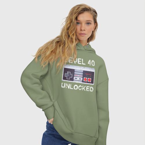 Женское худи Oversize хлопок Level 40 Unlocked Фото 01