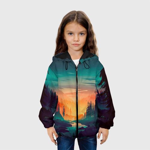 Детская куртка 3D Закат в лесу Фото 01