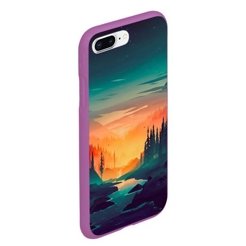 Чехол для iPhone 7Plus/8 Plus матовый Закат в лесу Фото 01