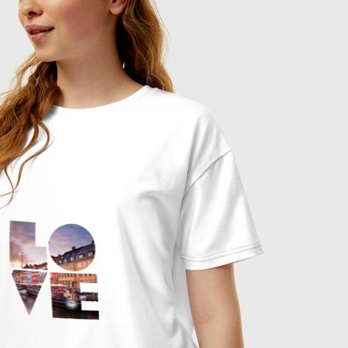 Женская футболка хлопок Oversize Love за  1490 рублей в интернет магазине Принт виды с разных сторон