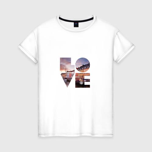 Женская футболка хлопок Love за  1190 рублей в интернет магазине Принт виды с разных сторон