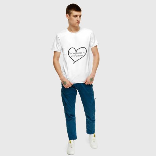 Мужская футболка хлопок Spring comes in every heart за  1190 рублей в интернет магазине Принт виды с разных сторон