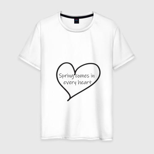 Мужская футболка хлопок Spring comes in every heart Фото 01