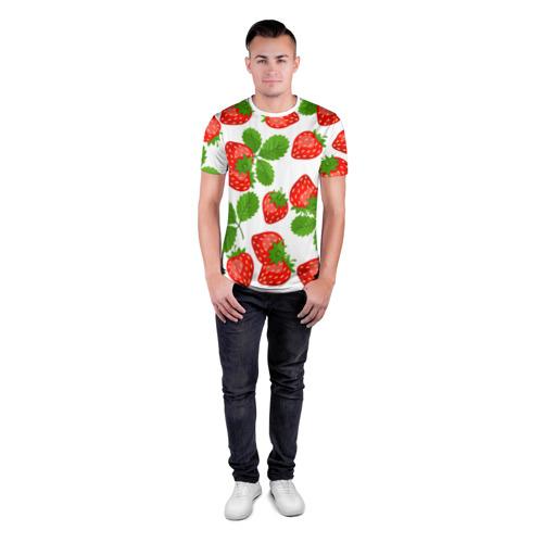Мужская футболка 3D спортивная Клубника за  1490 рублей в интернет магазине Принт виды с разных сторон