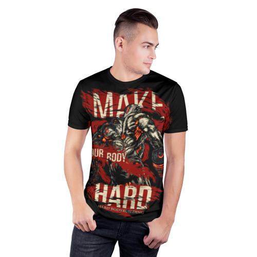 Мужская футболка 3D спортивная Сделай своё тело твёрдым Фото 01