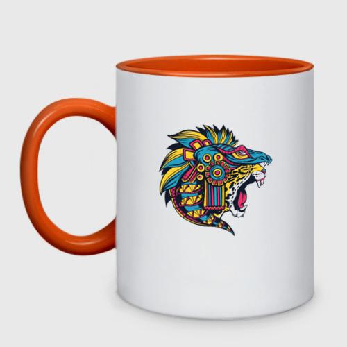 Кружка двухцветная Ацтекский ягуар Фото 01