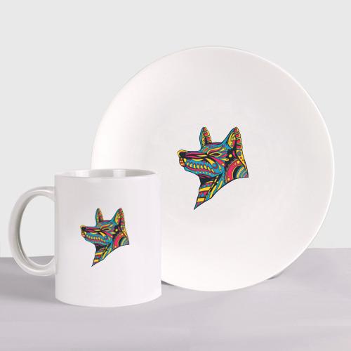 Набор: тарелка + кружка Ацтекский волк Фото 01