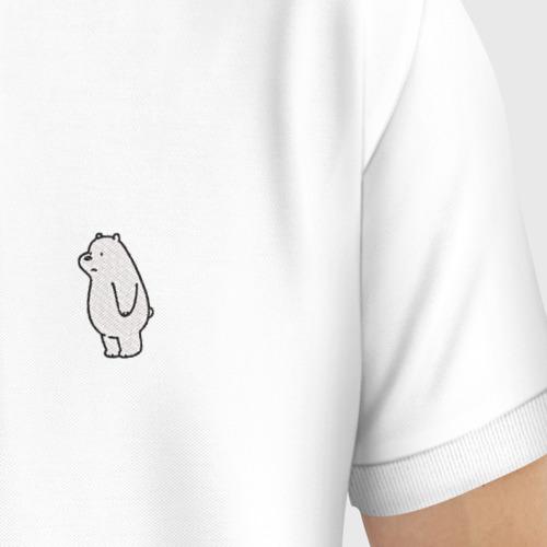 Мужское поло хлопок с вышивкой Белый медведь Фото 01