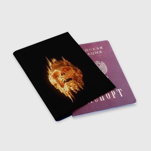 Обложка для паспорта матовая кожа Golden Skull Фото 01