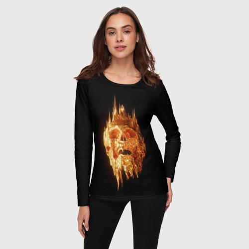 Женский лонгслив 3D Golden Skull за  1590 рублей в интернет магазине Принт виды с разных сторон