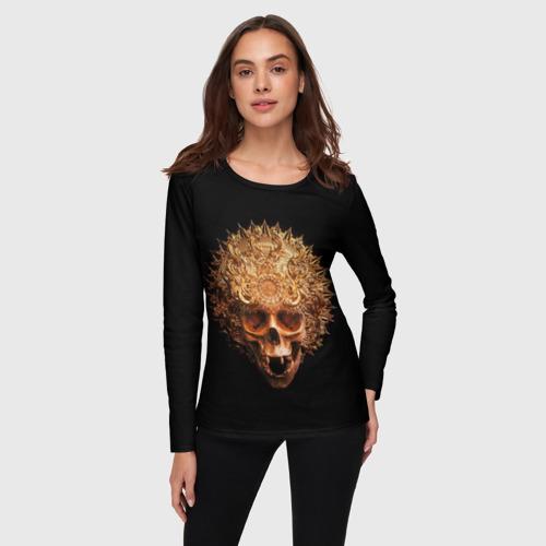 Женский лонгслив 3D Golden skull | 1.2 за  1590 рублей в интернет магазине Принт виды с разных сторон