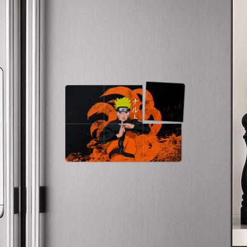 Магнитный плакат 3Х2 Двятихвостый Наруто делает клонов Фото 01
