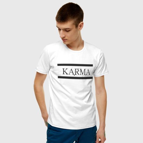 Мужская футболка хлопок KARMA горизонтальная полоса Фото 01