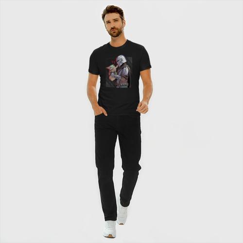 Мужская футболка хлопок Slim Мандалорец и Дитя Фото 01