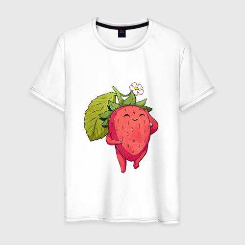 Мужская футболка хлопок Довольная клубника Фото 01