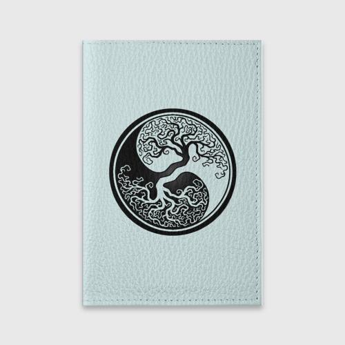 Обложка для паспорта матовая кожа Инь и ян Фото 01