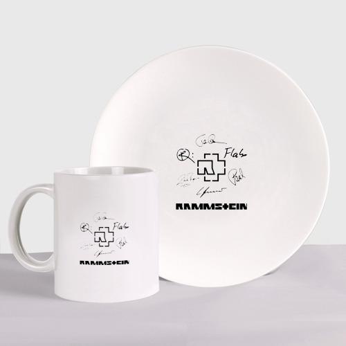 Набор: тарелка + кружка RAMMSTEIN АВТОГРАФЫ УЧАСТНИКОВ Фото 01