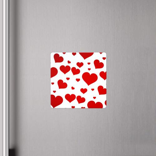 Магнит виниловый Квадрат Сердечки Фото 01
