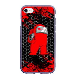 Чехол для iPhone 6Plus/6S Plus матовый Among Us Impostor Gun (Red).