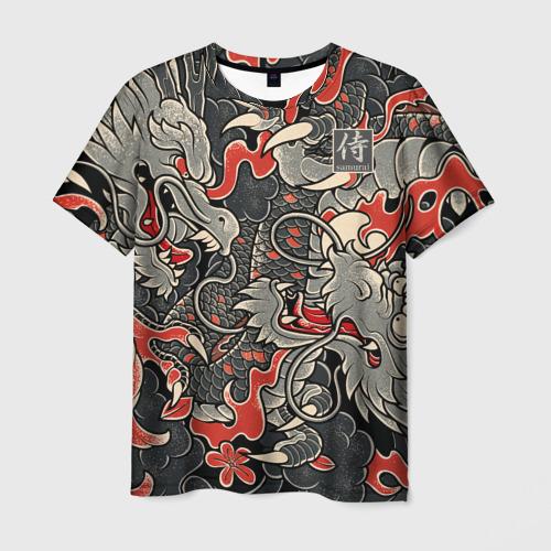 Мужская футболка 3D Самурай (Якудза, драконы) Фото 01