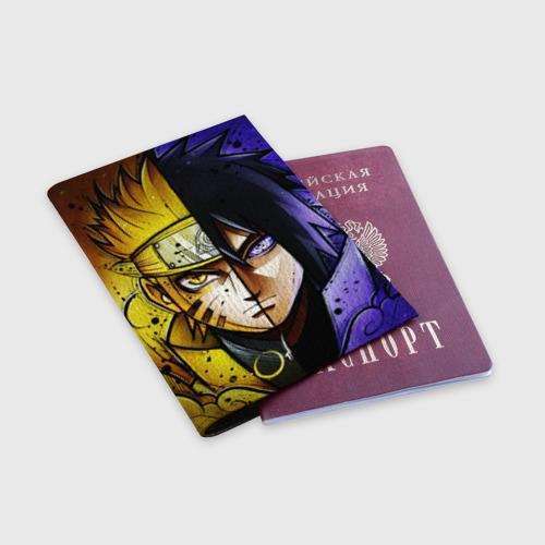Обложка для паспорта матовая кожа Наруто и Саске Фото 01