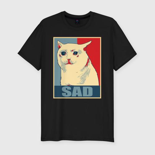 Мужская футболка хлопок Slim Sad Cat Фото 01