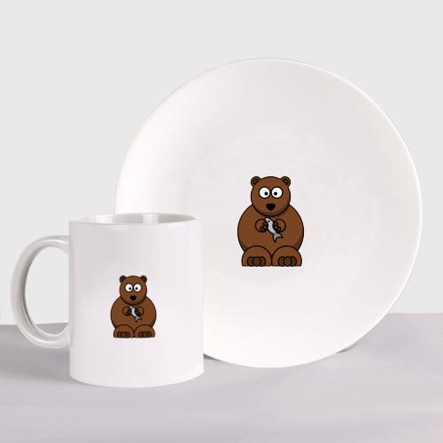 Набор: тарелка + кружка медведь с рыбой Фото 01