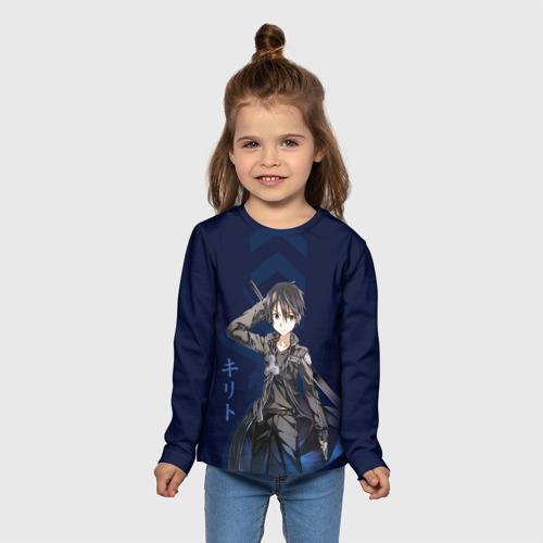 Детский лонгслив 3D Черный мечник Кирито Фото 01