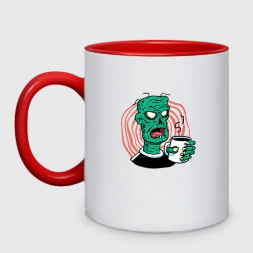 Кружка двухцветная Кофейный зомби Фото 01