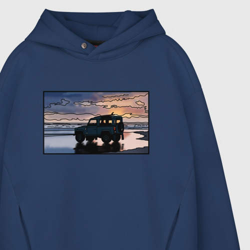 Мужское худи Oversize хлопок Land Rover Defender на закате Фото 01