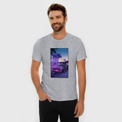 Мужская футболка хлопок Slim Тесла в фиолетовом закате Фото 01