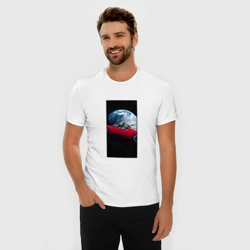 Мужская футболка хлопок Slim Тесла в космосе Фото 01