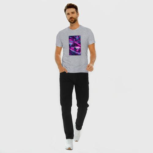 Мужская футболка хлопок Slim Кибертрак тесла в гараже Фото 01