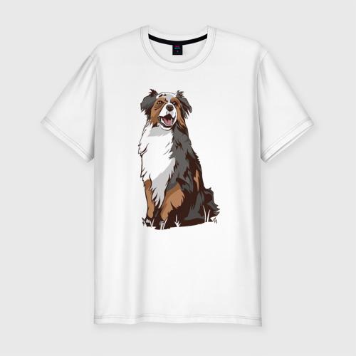 Мужская футболка хлопок Slim Австралийская овчарка арт Фото 01