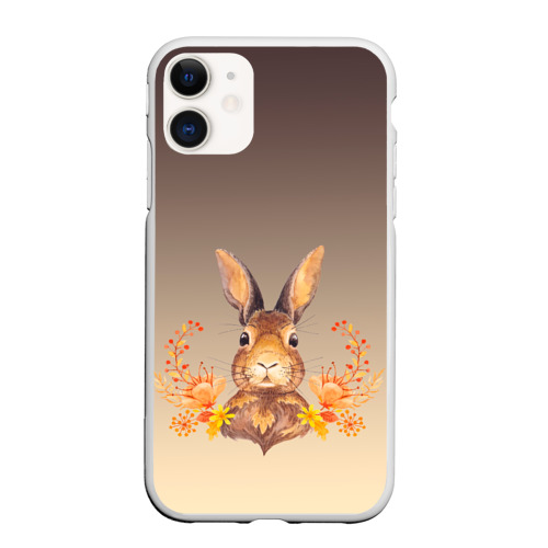 Чехол для iPhone 11 матовый заяц в цветочках Фото 01