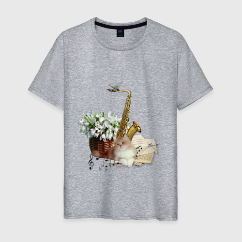 Мужская футболка хлопок саксофон кот ноты Фото 01
