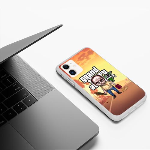 Чехол для iPhone 11 матовый GTA Тревор с битой и бензином Фото 01