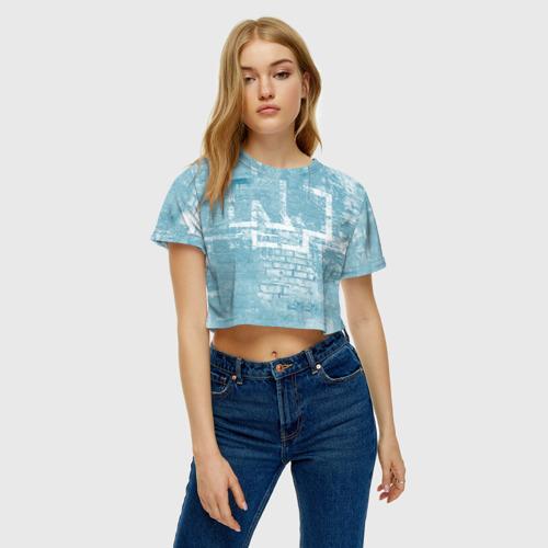 Женская футболка Crop-top 3D Rammstein (стена) Фото 01