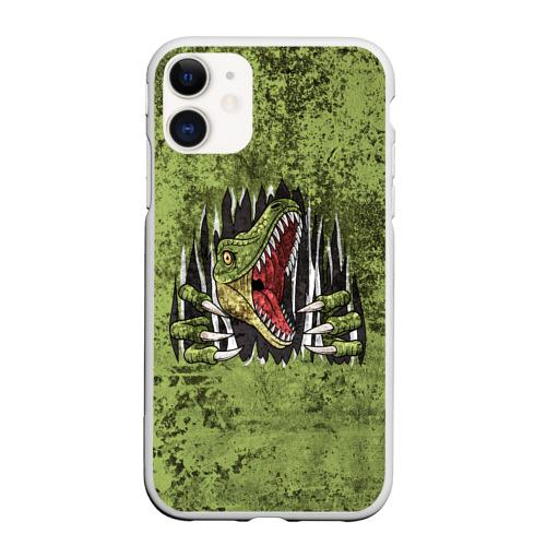 Чехол для iPhone 11 матовый Динозавр из груди | Dino (Z) Фото 01