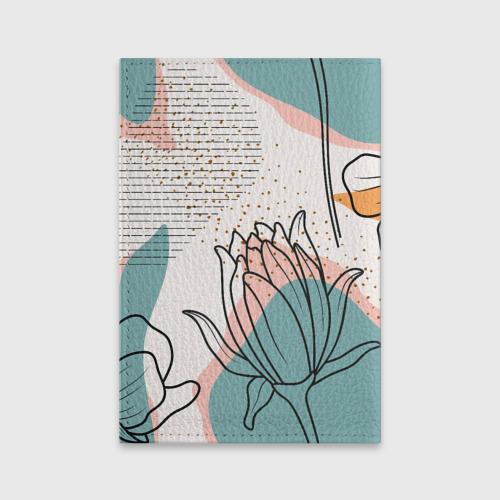 Обложка для паспорта матовая кожа Цветы Фото 01