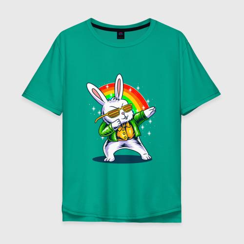 Мужская футболка хлопок Oversize кролик танцует Фото 01