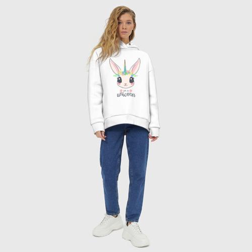 Женское худи Oversize хлопок Кролик-единорог Фото 01