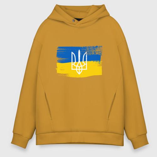 Мужское худи Oversize хлопок Флаг Украины Фото 01