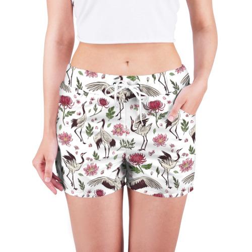 Женские шорты 3D Узор с журавлями Фото 01