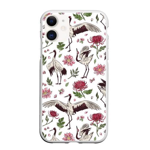 Чехол для iPhone 11 матовый Узор с журавлями Фото 01